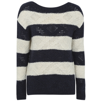 Striped Knitted Jumper White/Navy - neckline: round neck; pattern: horizontal stripes; style: standard; secondary colour: white; predominant colour: navy; occasions: casual; length: standard; fibres: acrylic - 100%; fit: slim fit; sleeve length: long sleeve; sleeve style: standard; texture group: knits/crochet; pattern type: fabric; multicoloured: multicoloured; season: a/w 2016; wardrobe: highlight