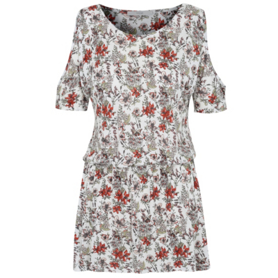 Floral Print Cold Shoulder Top Multi - neckline: v-neck; length: below the bottom; style: tunic; predominant colour: ivory/cream; secondary colour: mid grey; occasions: casual; fibres: viscose/rayon - 100%; fit: body skimming; shoulder detail: cut out shoulder; sleeve length: short sleeve; sleeve style: standard; pattern type: fabric; pattern: florals; texture group: other - light to midweight; multicoloured: multicoloured; season: a/w 2016