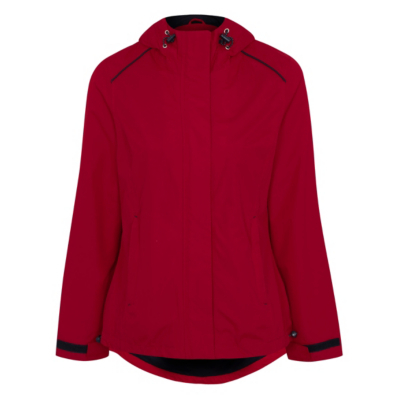 Hooded Waterproof Jacket Red - pattern: plain; length: standard; style: mac; back detail: hood; collar: high neck; predominant colour: burgundy; occasions: casual; fit: straight cut (boxy); fibres: polyester/polyamide - 100%; sleeve length: long sleeve; sleeve style: standard; texture group: technical outdoor fabrics; collar break: high; pattern type: fabric; season: a/w 2016; wardrobe: highlight