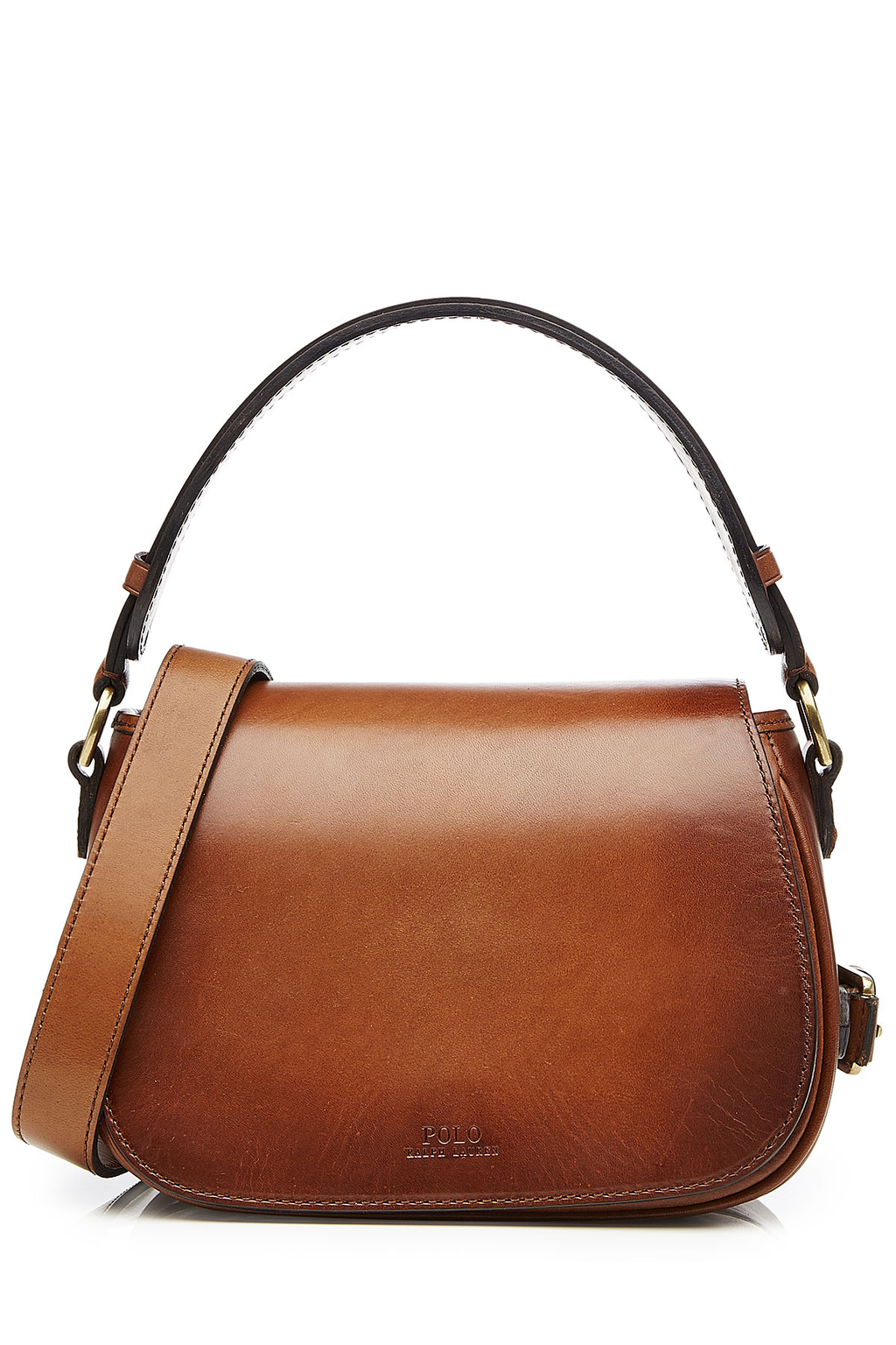 Leather Saddle Bag Brown - predominant colour: tan; occasions: casual; type of pattern: standard; style: shoulder; length: shoulder (tucks under arm); size: standard; material: leather; pattern: plain; finish: plain; season: a/w 2016; wardrobe: highlight