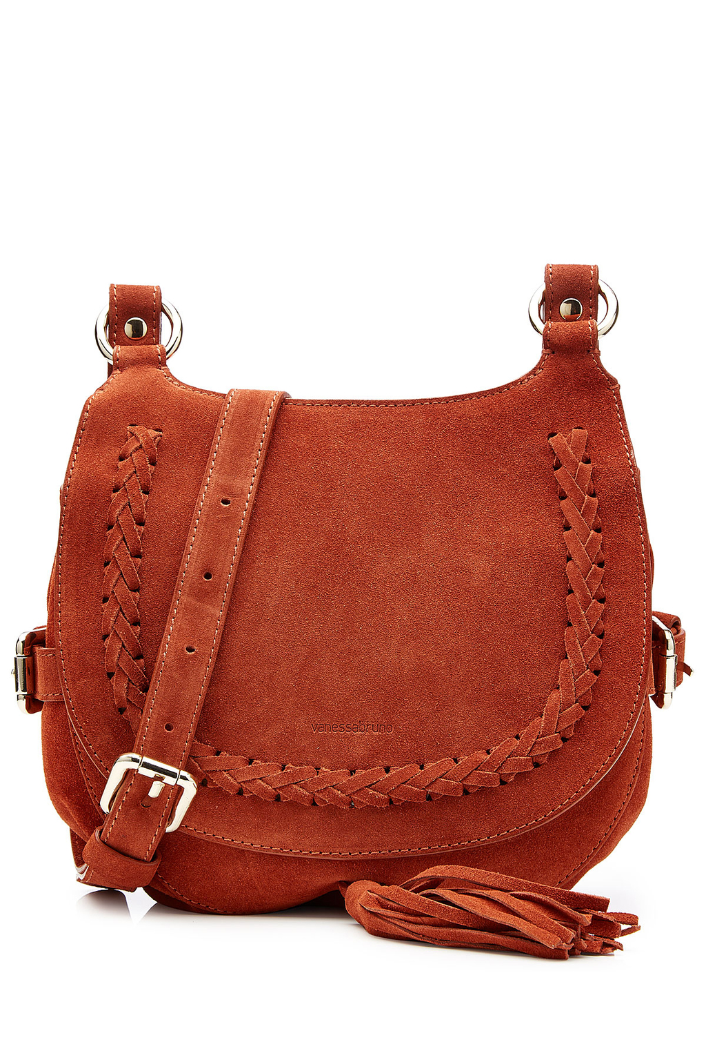 Suede Shoulder Bag Red - predominant colour: terracotta; occasions: casual, creative work; type of pattern: standard; style: saddle; length: across body/long; size: standard; material: suede; embellishment: tassels; pattern: plain; finish: plain; season: a/w 2016