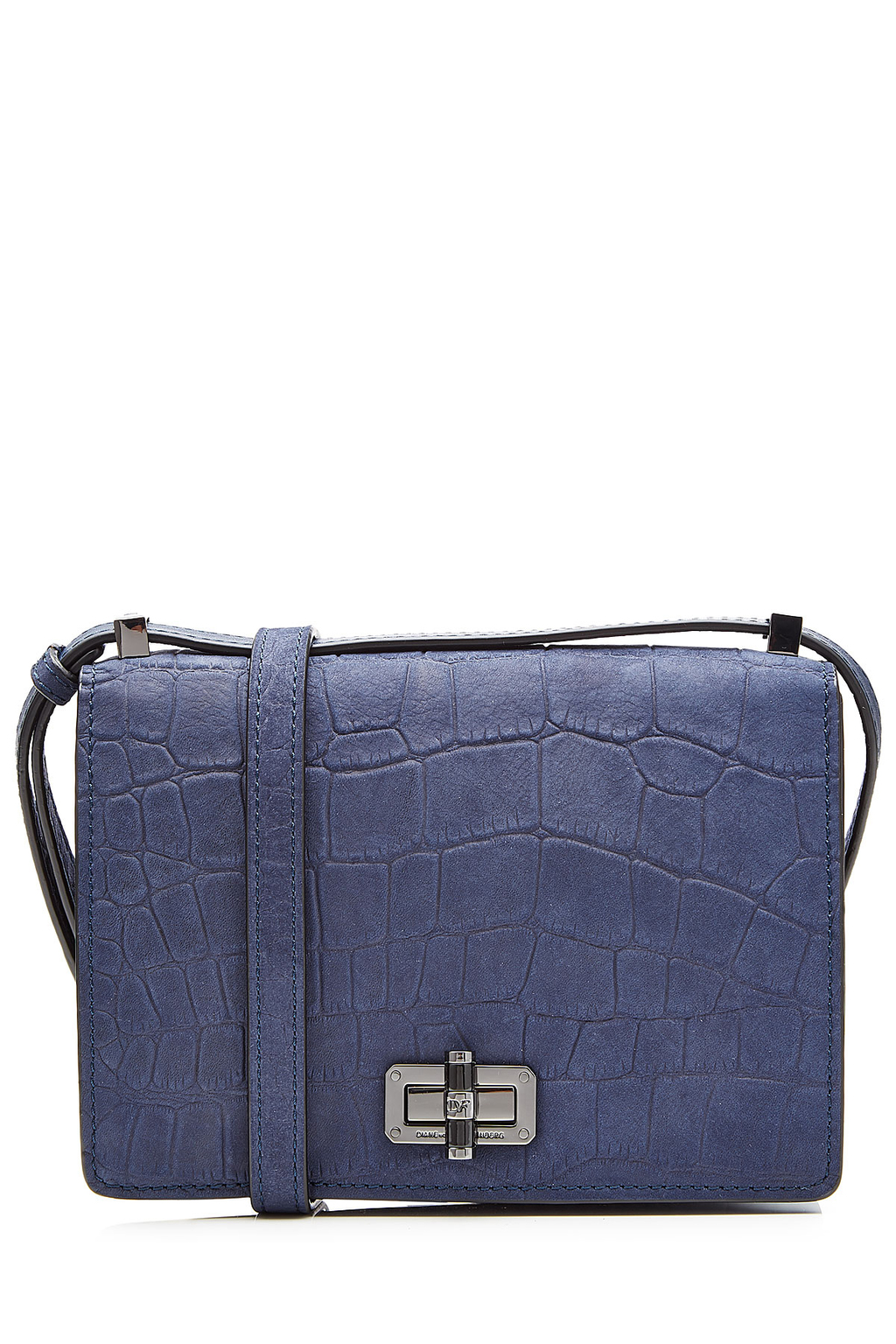 Embossed Leather Shoulder Bag Blue - predominant colour: denim; occasions: casual, creative work; type of pattern: standard; style: shoulder; length: across body/long; size: standard; material: leather; pattern: plain; finish: plain; secondary colour: pewter; season: a/w 2016; wardrobe: highlight