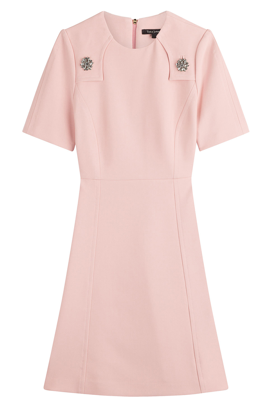 Dress With Embellishment - style: shift; pattern: plain; predominant colour: blush; occasions: evening; length: just above the knee; fit: body skimming; fibres: polyester/polyamide - stretch; neckline: crew; sleeve length: short sleeve; sleeve style: standard; pattern type: fabric; texture group: woven light midweight; season: a/w 2016; wardrobe: event