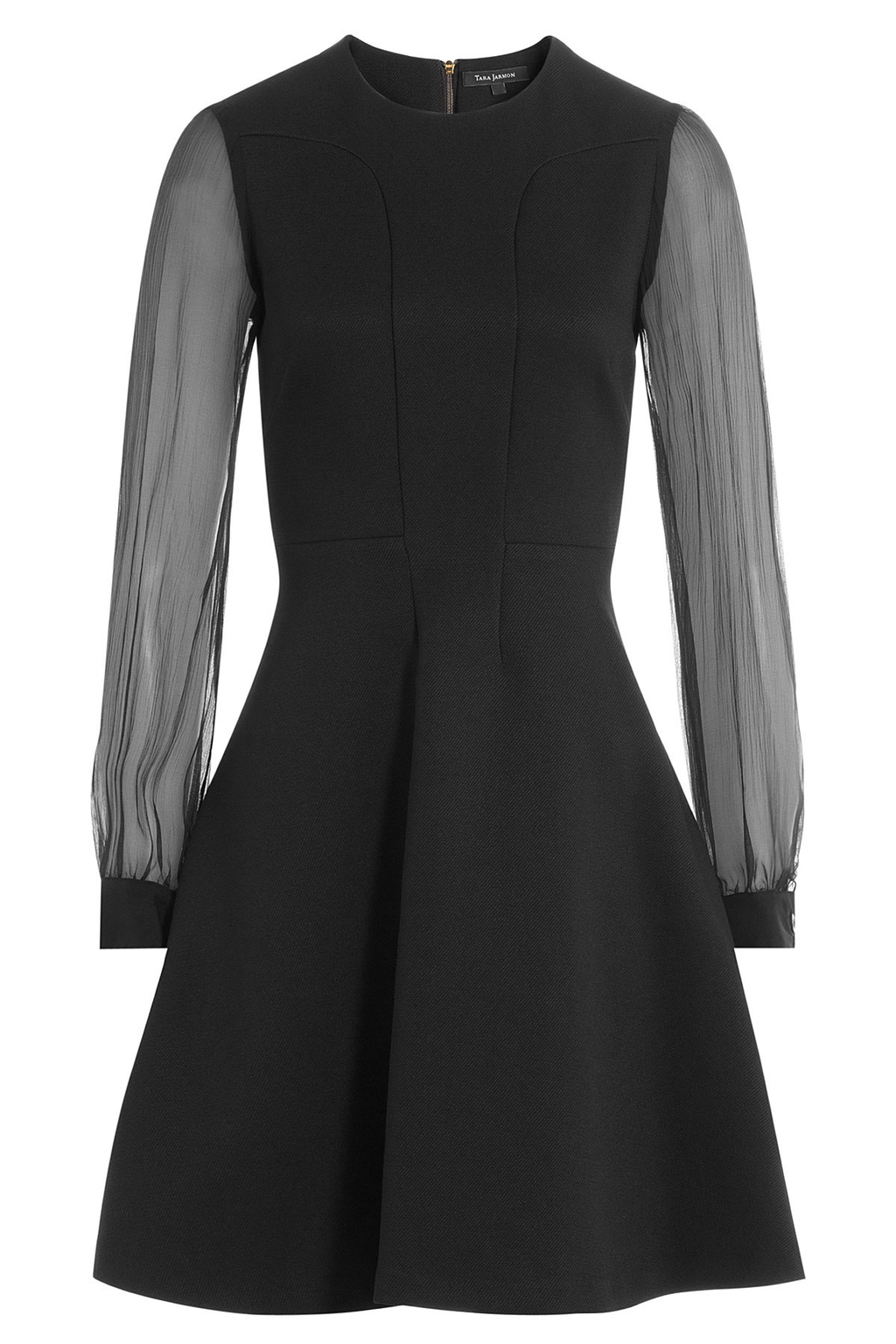 Dress With Sheer Longsleeves - length: mid thigh; pattern: plain; predominant colour: black; occasions: evening; fit: fitted at waist & bust; style: fit & flare; fibres: polyester/polyamide - 100%; neckline: crew; sleeve length: long sleeve; sleeve style: standard; pattern type: fabric; texture group: woven light midweight; shoulder detail: sheer at shoulder; season: a/w 2016; wardrobe: event