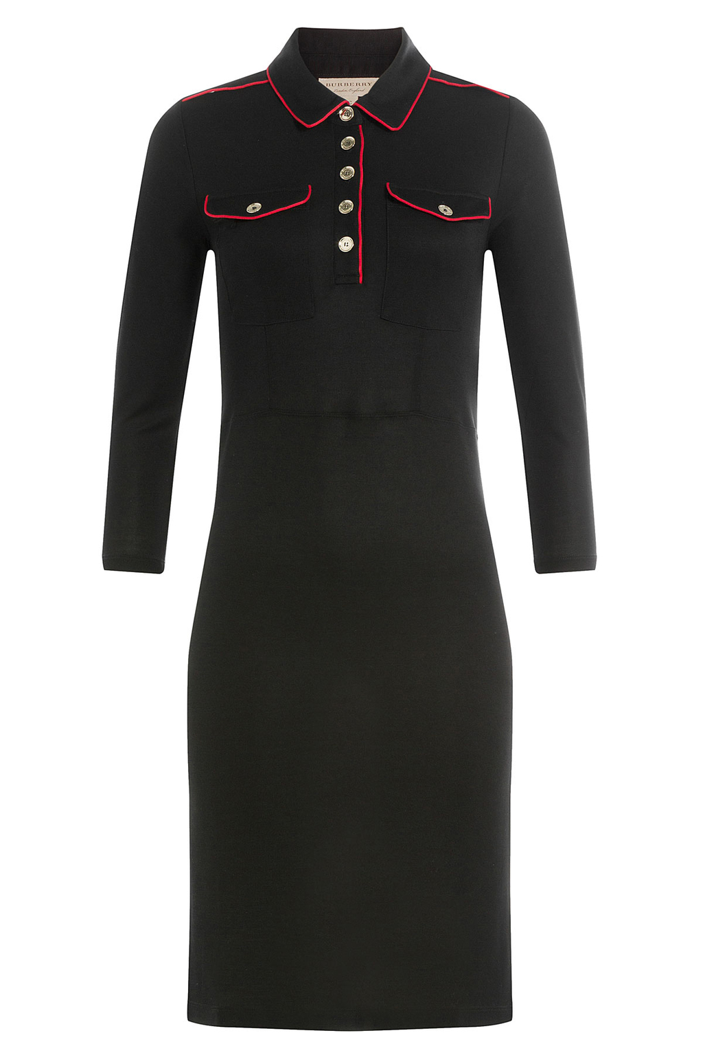 Dress With Contrast Piping - length: below the knee; neckline: shirt collar/peter pan/zip with opening; fit: tight; pattern: plain; style: bodycon; predominant colour: black; occasions: evening; fibres: viscose/rayon - 100%; sleeve length: long sleeve; sleeve style: standard; texture group: jersey - clingy; pattern type: fabric; season: a/w 2016; wardrobe: event