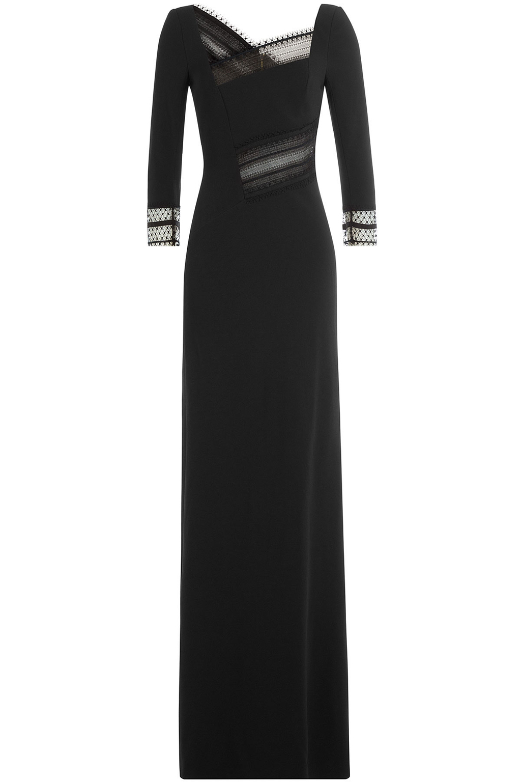 Asymmetric Dress With Lace - pattern: plain; style: maxi dress; neckline: asymmetric; predominant colour: black; occasions: evening; length: floor length; fit: body skimming; fibres: viscose/rayon - stretch; sleeve length: 3/4 length; sleeve style: standard; pattern type: fabric; texture group: other - light to midweight; embellishment: lace; season: a/w 2016; wardrobe: event; embellishment location: bust, sleeve/cuff, waist