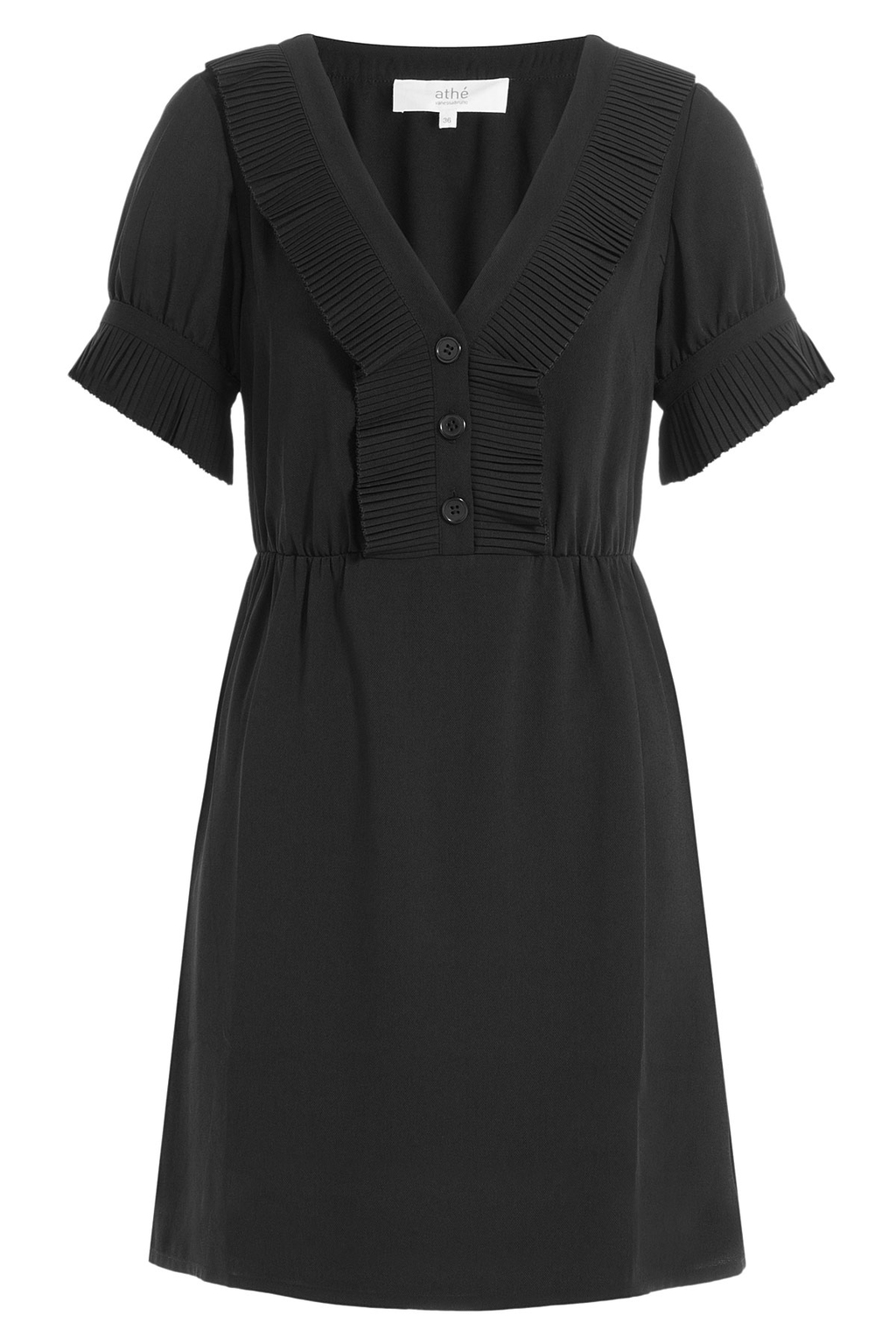 Dress With Pleats - length: mid thigh; neckline: v-neck; pattern: plain; predominant colour: black; occasions: evening; fit: fitted at waist & bust; style: fit & flare; fibres: polyester/polyamide - 100%; sleeve length: short sleeve; sleeve style: standard; texture group: crepes; pattern type: fabric; season: a/w 2016; wardrobe: event