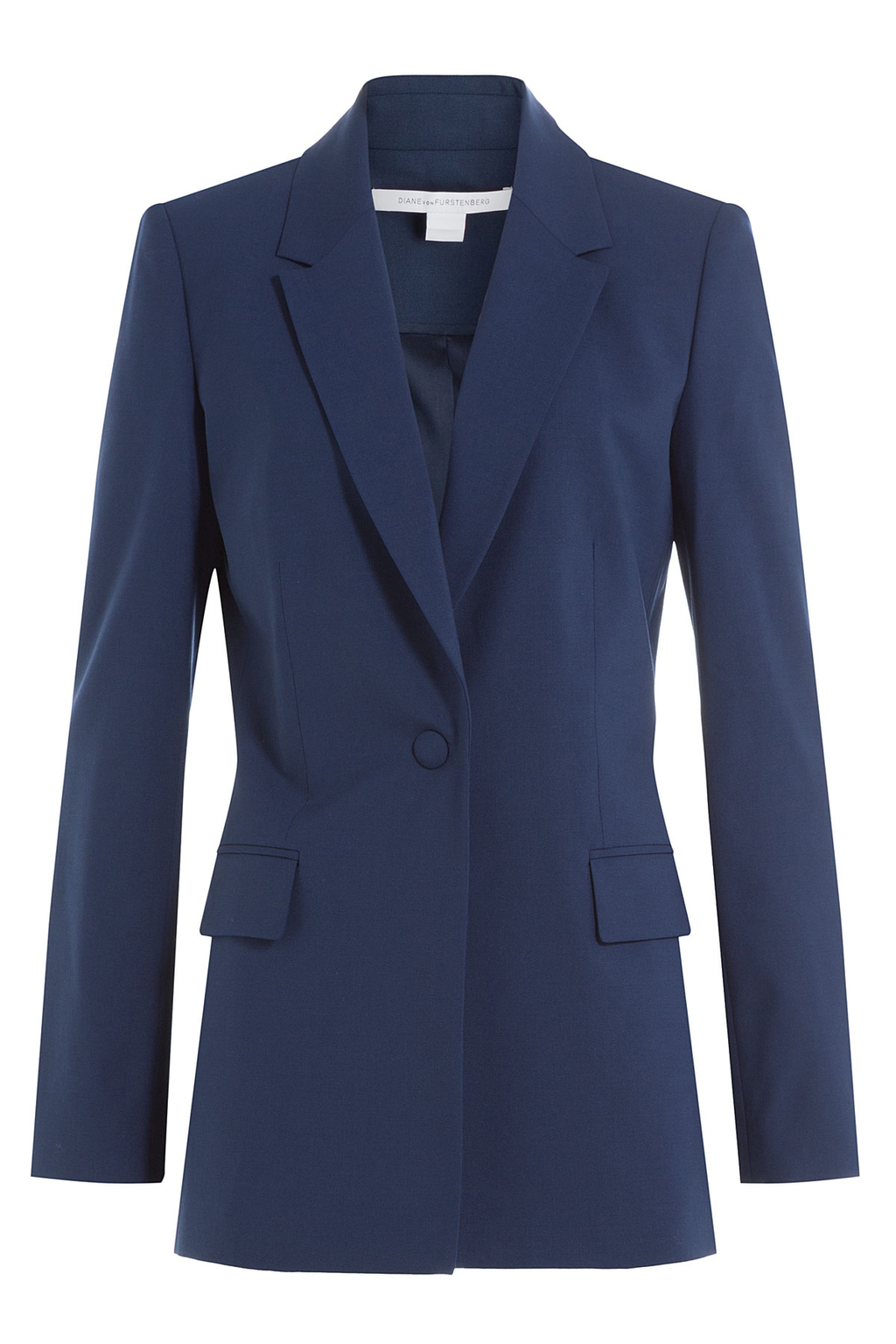 Wool Blazer - pattern: plain; style: single breasted blazer; collar: standard lapel/rever collar; predominant colour: navy; occasions: work; length: standard; fit: tailored/fitted; fibres: wool - mix; sleeve length: long sleeve; sleeve style: standard; collar break: medium; pattern type: fabric; texture group: other - light to midweight; wardrobe: investment; season: a/w 2016