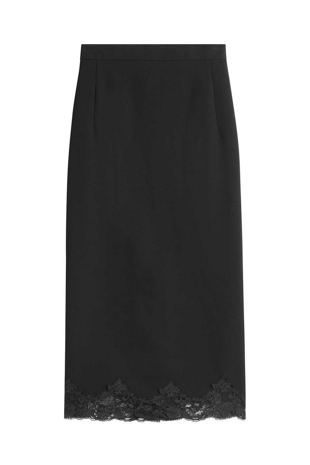 Pencil Skirt With Lace - length: below the knee; pattern: plain; style: pencil; fit: tailored/fitted; waist: mid/regular rise; predominant colour: black; occasions: evening, occasion; fibres: viscose/rayon - stretch; pattern type: fabric; texture group: other - light to midweight; embellishment: lace; season: a/w 2016; wardrobe: event; embellishment location: hem