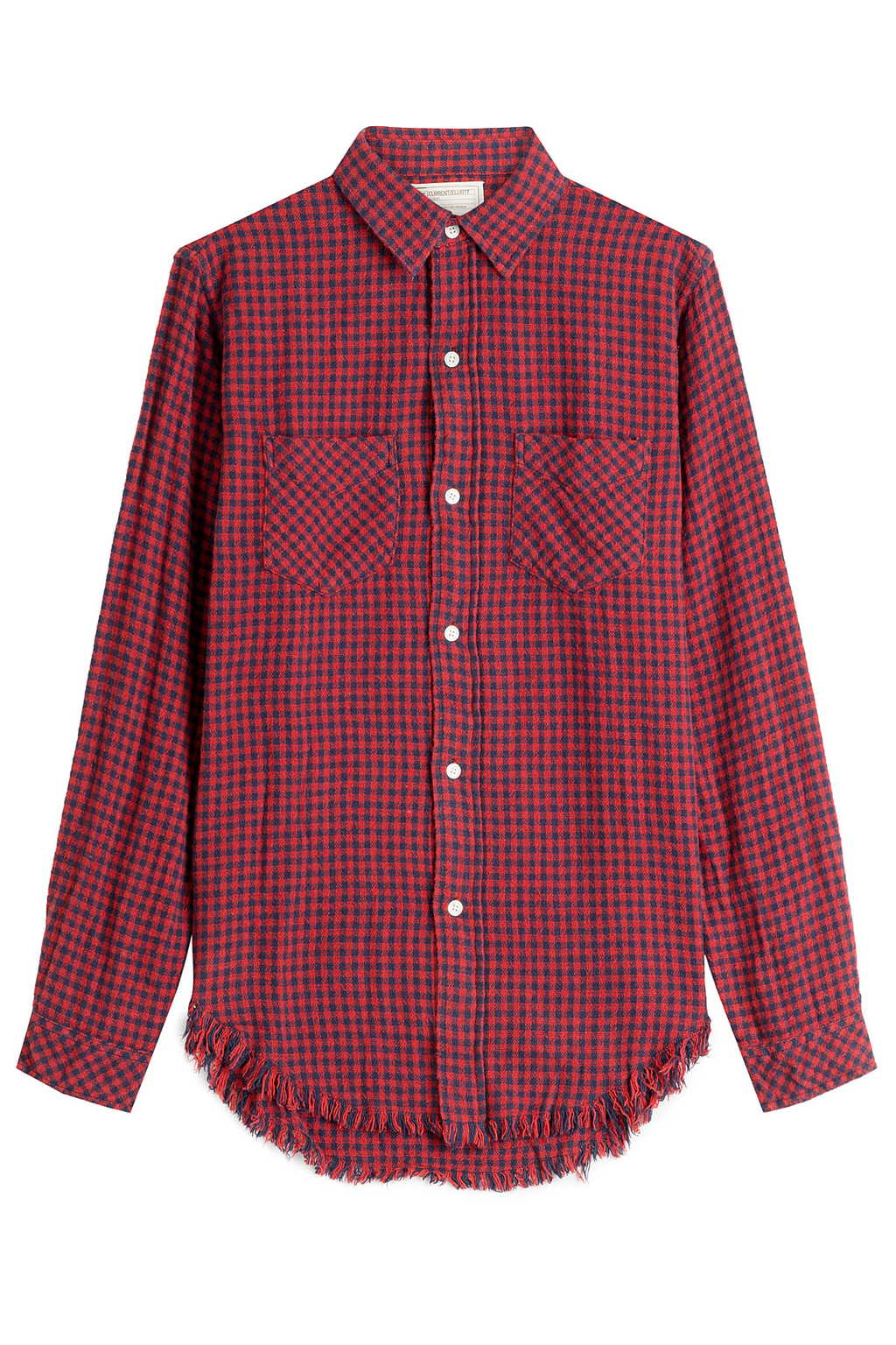 Printed Shirt With Frayed Hem Red - neckline: shirt collar/peter pan/zip with opening; pattern: checked/gingham; style: shirt; predominant colour: true red; occasions: casual; length: standard; fibres: cotton - 100%; fit: body skimming; sleeve length: long sleeve; sleeve style: standard; texture group: cotton feel fabrics; pattern type: fabric; pattern size: standard; season: a/w 2016; wardrobe: highlight