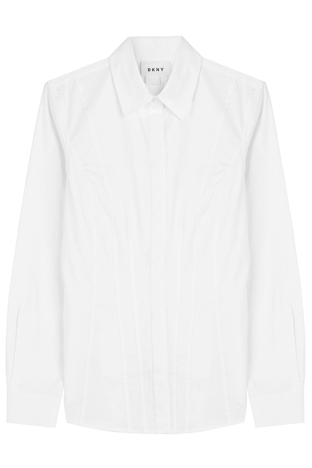 Cotton Shirt - neckline: shirt collar/peter pan/zip with opening; pattern: plain; predominant colour: white; occasions: work; length: standard; style: top; fibres: cotton - 100%; fit: body skimming; sleeve length: long sleeve; sleeve style: standard; texture group: cotton feel fabrics; pattern type: fabric; wardrobe: basic; season: a/w 2016