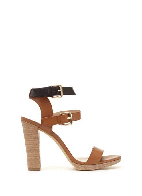 Tan Jess Leather Double Ankle Strap Sandal - predominant colour: tan; secondary colour: black; occasions: evening; material: leather; heel height: high; ankle detail: ankle strap; heel: block; toe: open toe/peeptoe; style: strappy; finish: plain; pattern: plain; multicoloured: multicoloured; season: a/w 2016; wardrobe: event