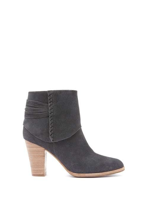 Granite Holly Suede Ankle Boot - predominant colour: charcoal; occasions: casual; material: suede; heel height: high; heel: block; toe: pointed toe; boot length: ankle boot; style: standard; finish: plain; pattern: plain; season: a/w 2016; wardrobe: highlight