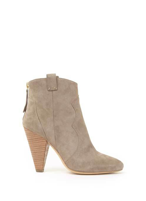 Stone Camilla Suede Pointed Cowboy Boot - predominant colour: stone; occasions: casual, creative work; material: suede; heel height: high; heel: cone; toe: round toe; boot length: ankle boot; style: cowboy; finish: plain; pattern: plain; season: a/w 2016; wardrobe: highlight