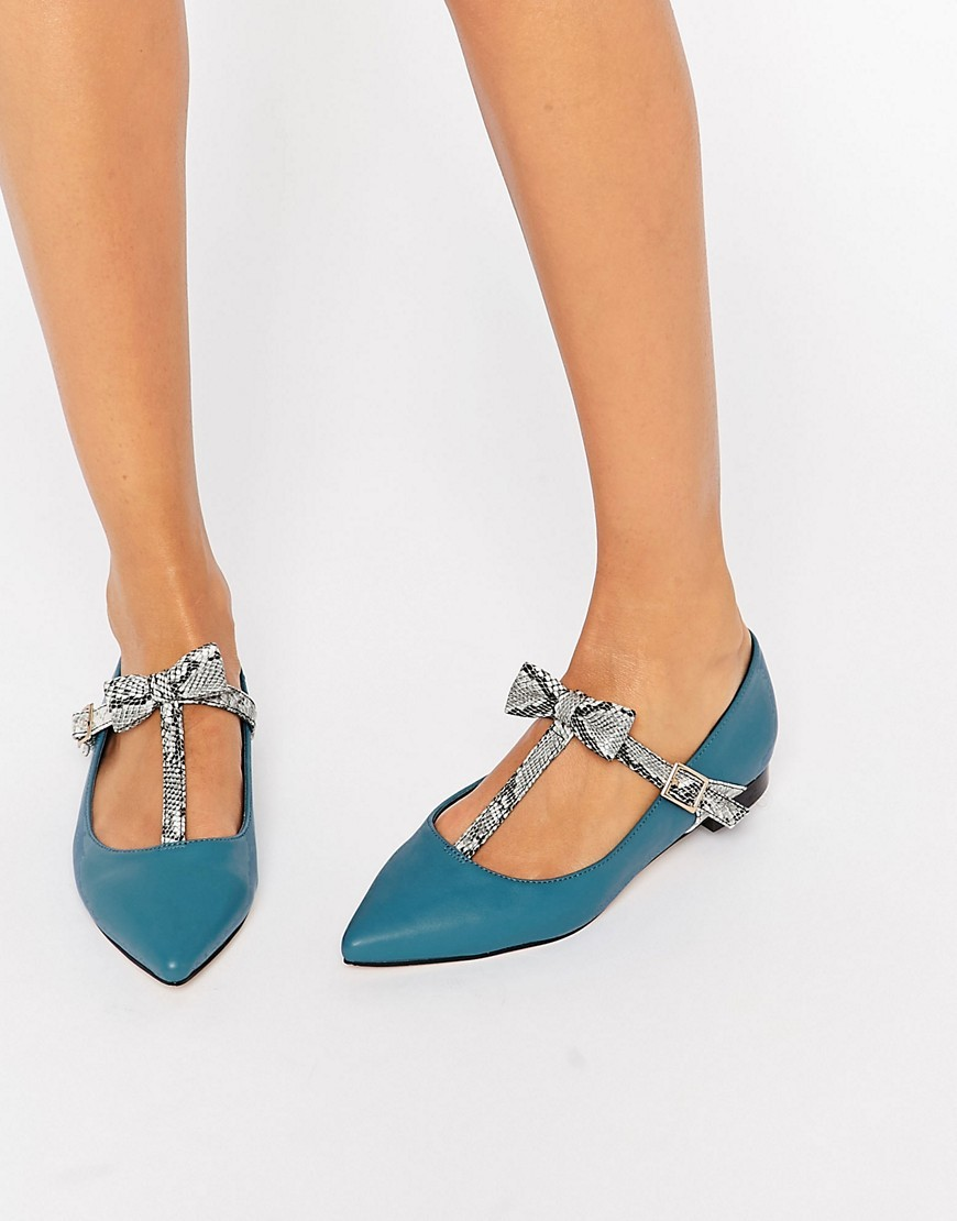 Logan Pointed Ballet Flats Teal - predominant colour: teal; secondary colour: light grey; occasions: casual, creative work; material: faux leather; heel height: flat; toe: pointed toe; style: ballerinas / pumps; finish: plain; pattern: colourblock; multicoloured: multicoloured; season: a/w 2016