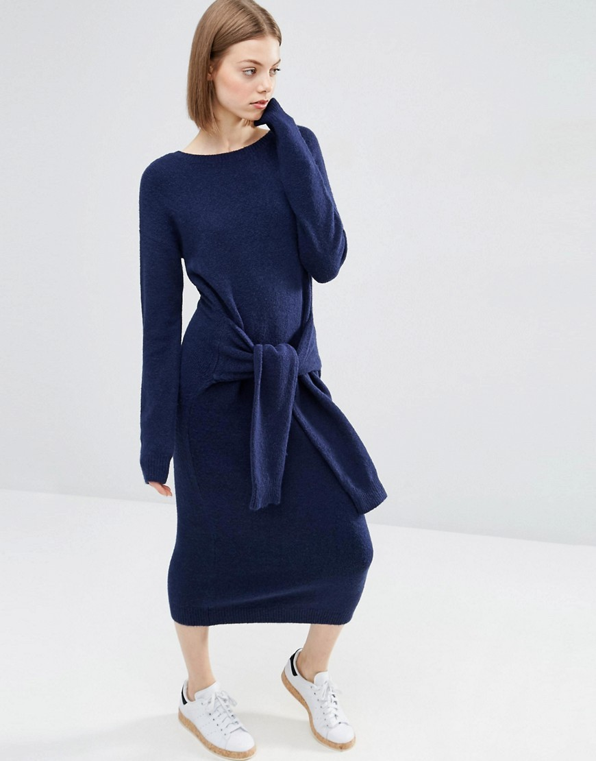 Jumper Dress With Tie Detail Navy - style: jumper dress; length: calf length; neckline: slash/boat neckline; pattern: plain; waist detail: belted waist/tie at waist/drawstring; predominant colour: navy; occasions: casual; fit: body skimming; fibres: wool - mix; sleeve length: long sleeve; sleeve style: standard; texture group: knits/crochet; pattern type: fabric; wardrobe: basic; season: a/w 2016
