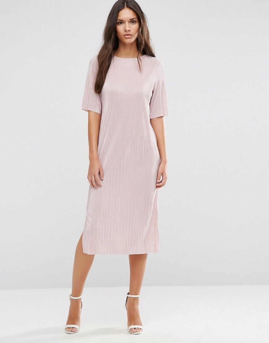 Pliss� T Shirt Dress Nude - style: t-shirt; length: calf length; pattern: plain; predominant colour: blush; occasions: casual; fit: body skimming; fibres: polyester/polyamide - 100%; neckline: crew; sleeve length: half sleeve; sleeve style: standard; texture group: crepes; pattern type: fabric; wardrobe: basic; season: a/w 2016