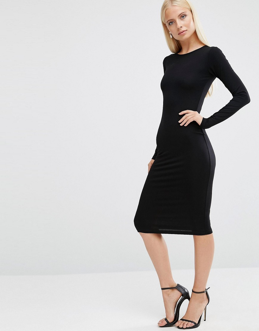 Long Sleeve Bodycon Midi Dress Black - length: below the knee; fit: tight; pattern: plain; style: bodycon; predominant colour: black; occasions: evening; fibres: viscose/rayon - stretch; neckline: crew; sleeve length: long sleeve; sleeve style: standard; texture group: jersey - clingy; pattern type: fabric; season: a/w 2016