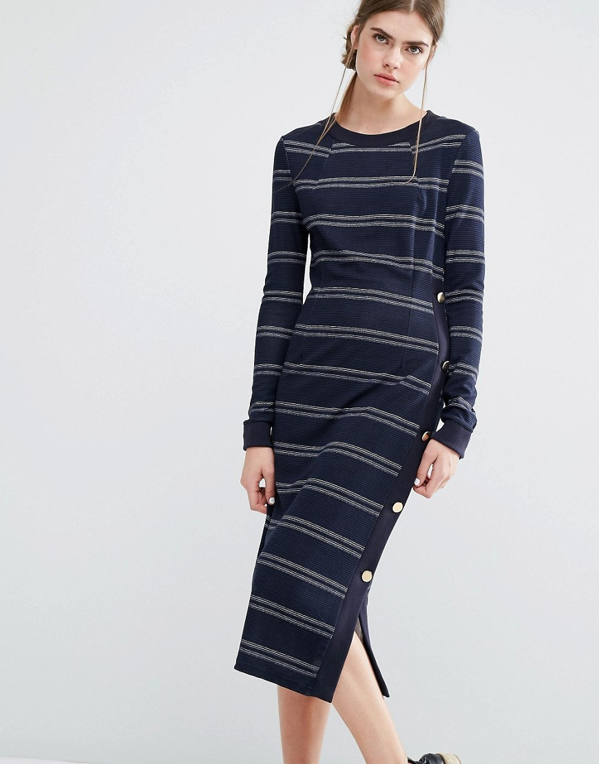 Jana Jersey Midi Dress In Stripe With Button Detail Blue - style: t-shirt; length: calf length; pattern: horizontal stripes; hip detail: draws attention to hips; predominant colour: navy; secondary colour: light grey; occasions: casual; fit: body skimming; fibres: polyester/polyamide - 100%; neckline: crew; sleeve length: long sleeve; sleeve style: standard; pattern type: fabric; texture group: jersey - stretchy/drapey; multicoloured: multicoloured; wardrobe: basic; season: a/w 2016