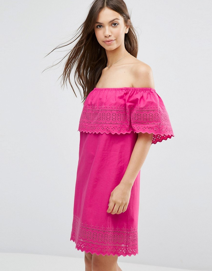 Embroidered Off Shoulder Sundress Pink - neckline: off the shoulder; pattern: plain; style: sundress; predominant colour: hot pink; occasions: casual; length: just above the knee; fit: body skimming; fibres: cotton - 100%; sleeve length: short sleeve; sleeve style: standard; pattern type: fabric; texture group: other - light to midweight; embellishment: embroidered; season: a/w 2016; wardrobe: highlight; embellishment location: bust, sleeve/cuff
