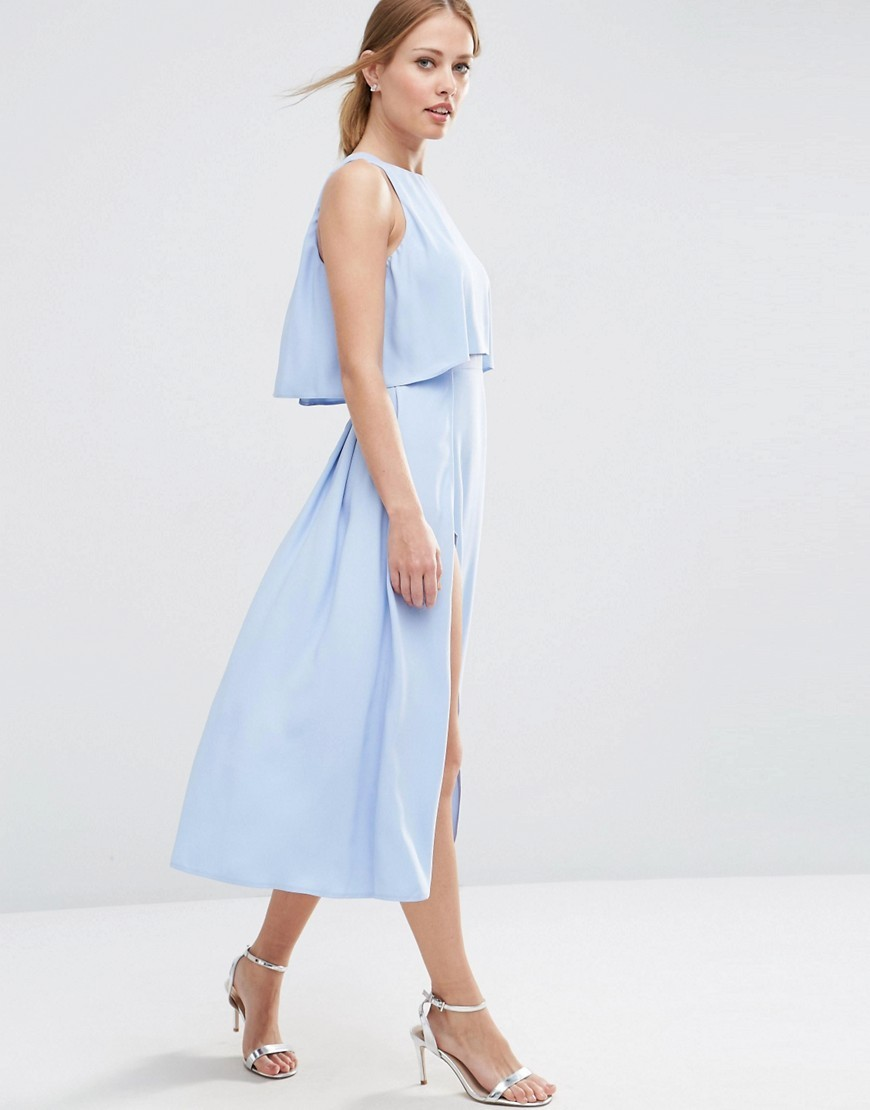 Crop Top Wrap Split Midi Dress Blue - style: shift; length: calf length; pattern: plain; sleeve style: sleeveless; bust detail: ruching/gathering/draping/layers/pintuck pleats at bust; predominant colour: pale blue; fit: body skimming; fibres: polyester/polyamide - 100%; neckline: crew; sleeve length: sleeveless; texture group: crepes; pattern type: fabric; occasions: creative work; season: a/w 2016