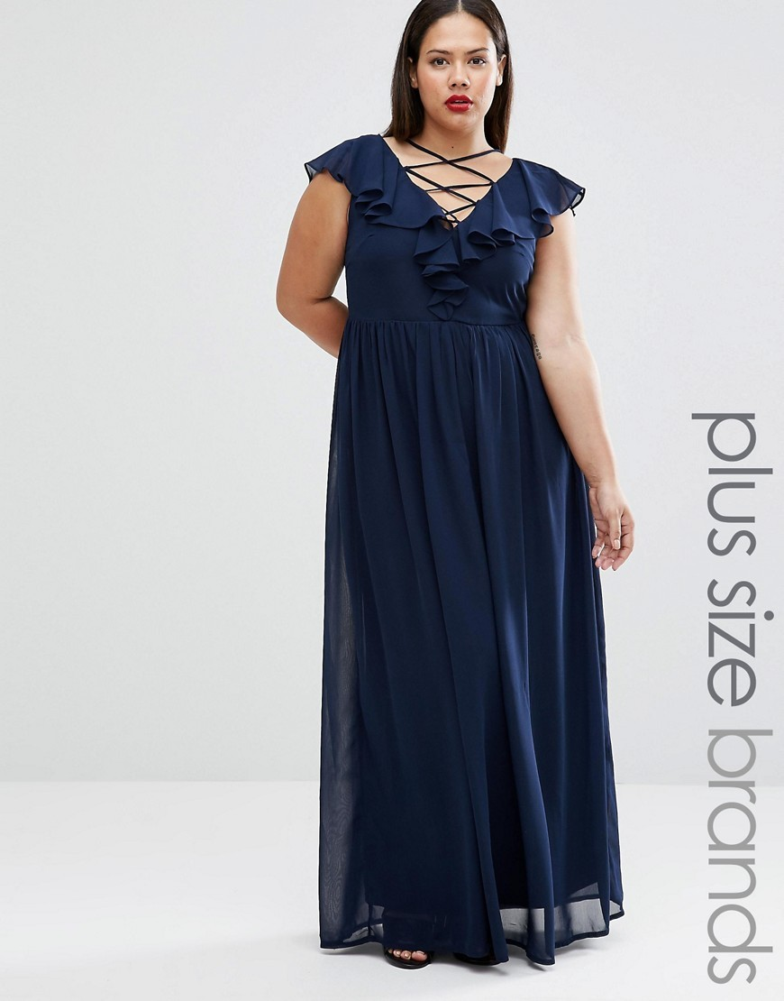 Plus Maxi Dress With Lace Up Front And Ruffle Detail Navy - neckline: low v-neck; sleeve style: angel/waterfall; fit: empire; pattern: plain; style: maxi dress; predominant colour: navy; occasions: evening, occasion; length: floor length; fibres: polyester/polyamide - 100%; hip detail: soft pleats at hip/draping at hip/flared at hip; sleeve length: short sleeve; texture group: sheer fabrics/chiffon/organza etc.; bust detail: tiers/frills/bulky drapes/pleats; pattern type: fabric; season: a/w 2016