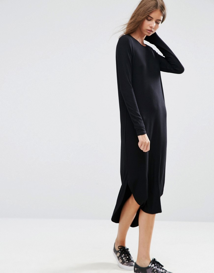 Slouch Dress In Rib With Curved Hem Black - style: shift; length: calf length; fit: loose; pattern: plain; predominant colour: black; occasions: casual; fibres: cotton - stretch; neckline: crew; sleeve length: long sleeve; sleeve style: standard; pattern type: fabric; texture group: jersey - stretchy/drapey; wardrobe: basic; season: a/w 2016