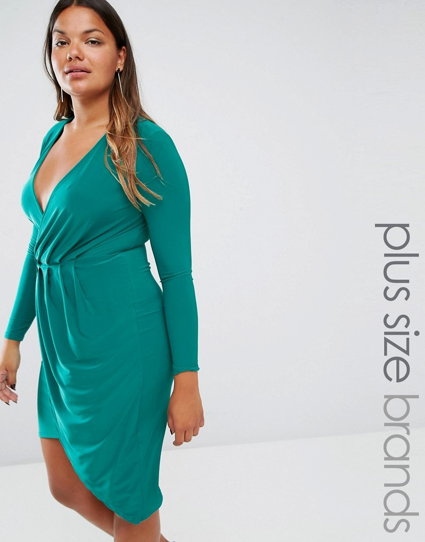 Plus Slinky Dress With Wrap Front Jade Green - style: faux wrap/wrap; neckline: low v-neck; pattern: plain; predominant colour: teal; occasions: evening; length: just above the knee; fit: body skimming; fibres: polyester/polyamide - stretch; sleeve length: long sleeve; sleeve style: standard; pattern type: fabric; texture group: jersey - stretchy/drapey; season: a/w 2016; wardrobe: event