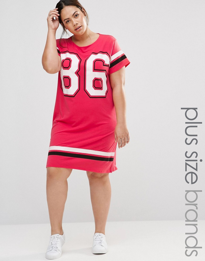 Varsity Jersey Tshirt Dress Pink - style: t-shirt; secondary colour: white; predominant colour: pink; occasions: casual; length: just above the knee; fit: body skimming; fibres: polyester/polyamide - stretch; neckline: crew; sleeve length: short sleeve; sleeve style: standard; pattern type: fabric; texture group: jersey - stretchy/drapey; pattern: graphic/slogan; season: a/w 2016; wardrobe: highlight