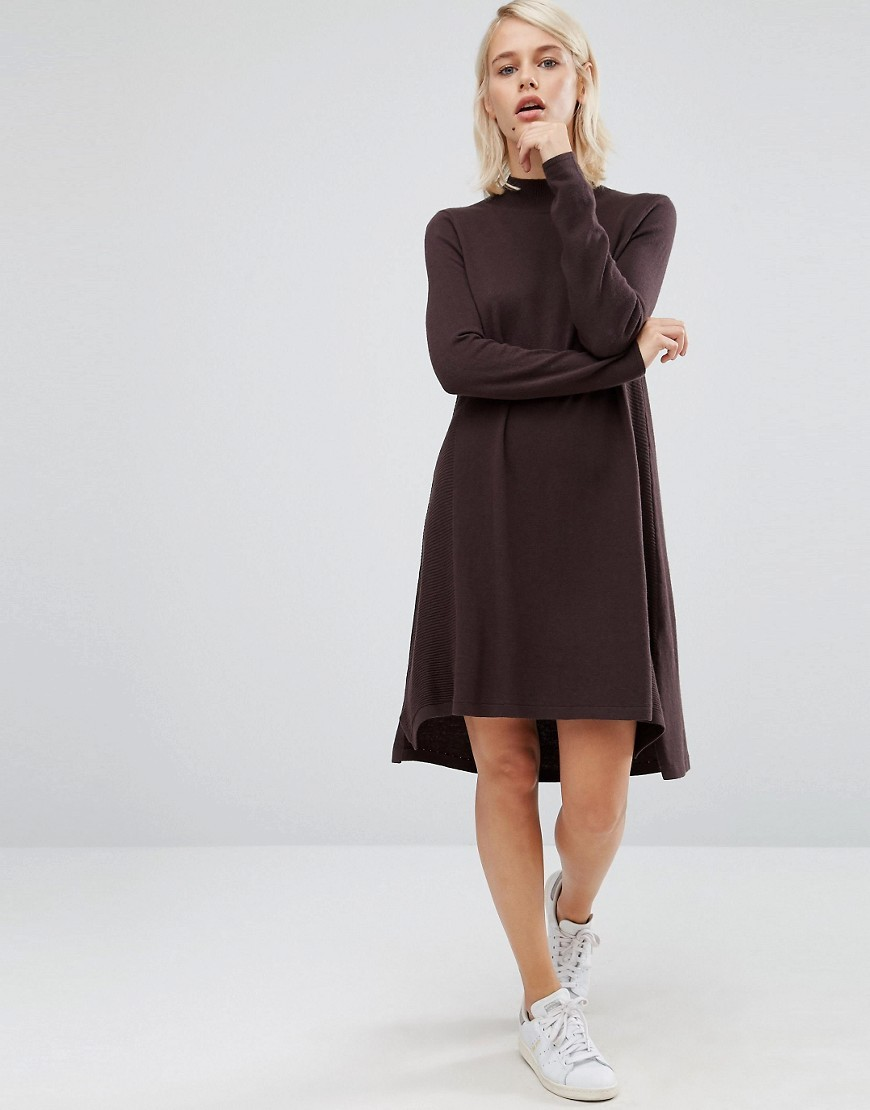 Knit Tunic Dress In Cashmere Mix Chocolate - style: jumper dress; fit: loose; pattern: plain; neckline: high neck; predominant colour: chocolate brown; occasions: casual; length: just above the knee; fibres: wool - mix; sleeve length: long sleeve; sleeve style: standard; texture group: knits/crochet; pattern type: fabric; wardrobe: basic; season: a/w 2016