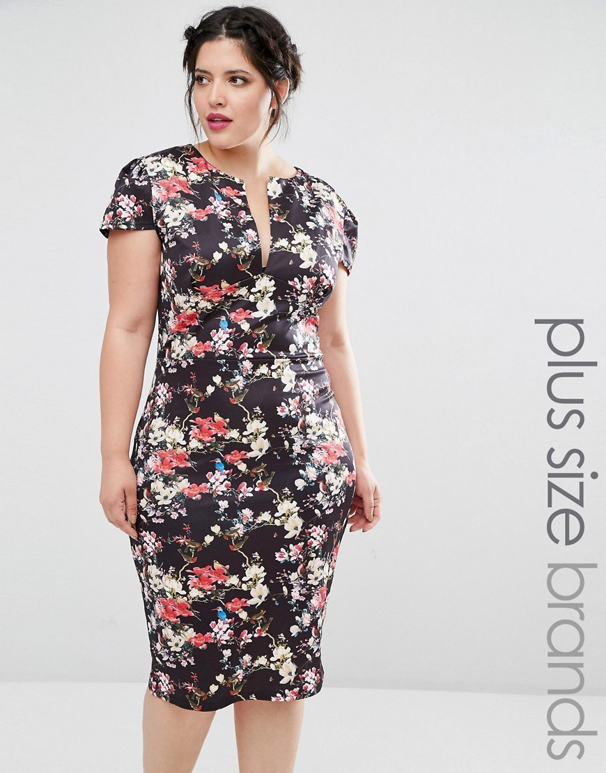 Plus Dress With Open Neck In Floral Print Cream - style: shift; length: below the knee; neckline: low v-neck; secondary colour: ivory/cream; predominant colour: black; occasions: evening; fit: body skimming; fibres: polyester/polyamide - stretch; sleeve length: short sleeve; sleeve style: standard; pattern type: fabric; pattern size: big & busy; pattern: florals; texture group: jersey - stretchy/drapey; multicoloured: multicoloured; season: a/w 2016; wardrobe: event