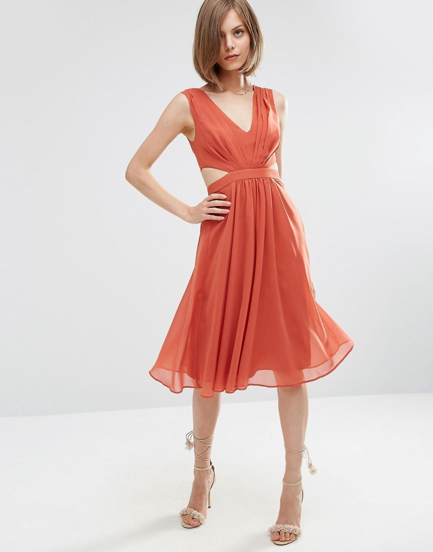 Side Cut Out Midi Dress Spice - length: below the knee; neckline: low v-neck; pattern: plain; sleeve style: sleeveless; predominant colour: terracotta; occasions: evening; fit: fitted at waist & bust; style: fit & flare; fibres: polyester/polyamide - 100%; waist detail: cut out detail; sleeve length: sleeveless; texture group: sheer fabrics/chiffon/organza etc.; pattern type: fabric; season: a/w 2016