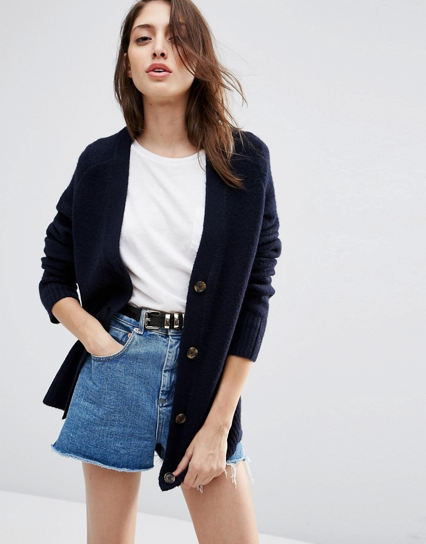 Cardigan In Wool Mix Navy - neckline: low v-neck; pattern: plain; length: below the bottom; predominant colour: navy; occasions: casual; style: standard; fibres: wool - mix; fit: slim fit; sleeve length: long sleeve; sleeve style: standard; texture group: knits/crochet; pattern type: fabric; wardrobe: basic; season: a/w 2016
