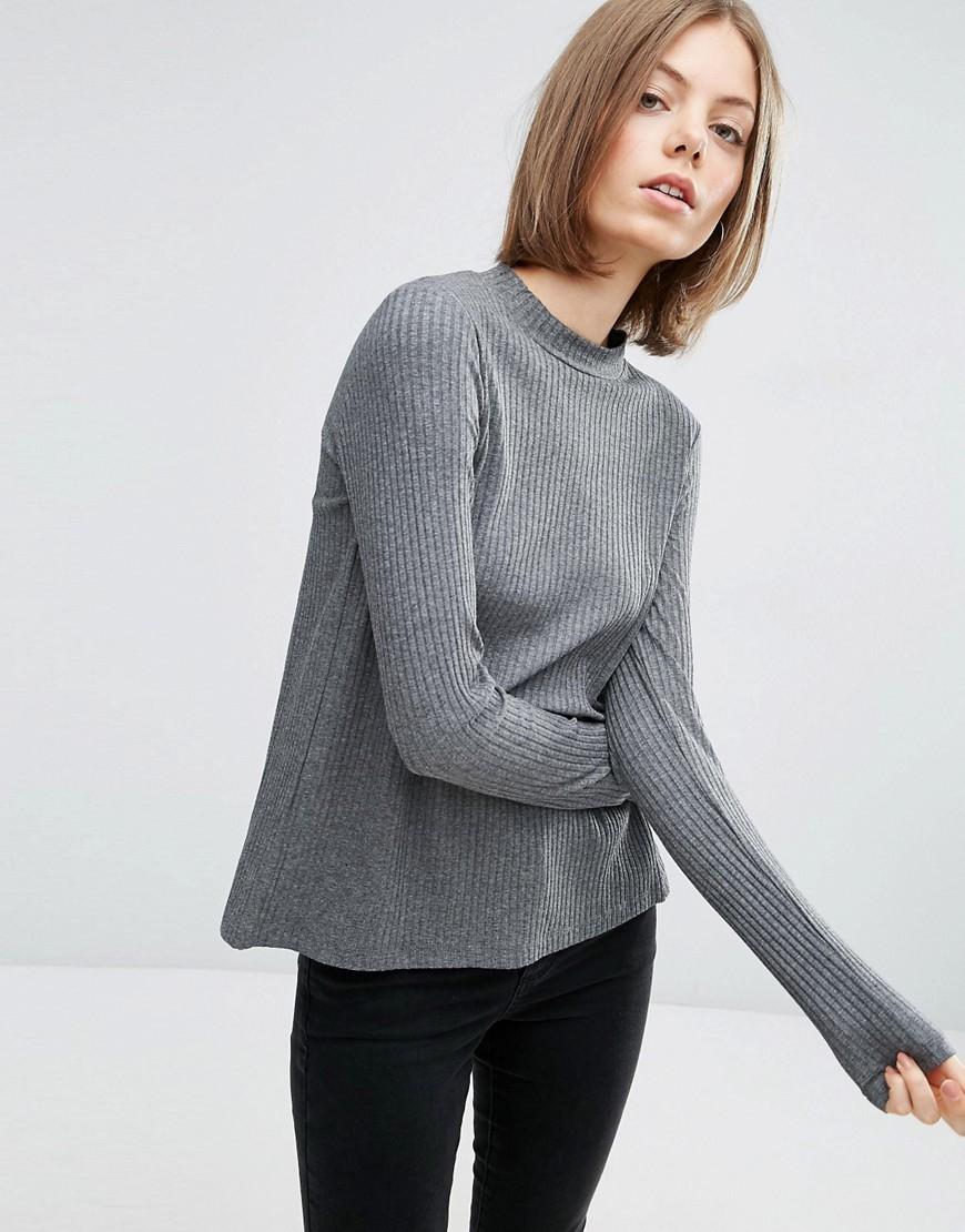 Ribbed Long Sleeve Top With Slit Open Back Dark Grey Marl - pattern: plain; predominant colour: mid grey; occasions: casual, work, creative work; length: standard; style: top; fit: loose; neckline: crew; sleeve length: long sleeve; sleeve style: standard; pattern type: fabric; texture group: jersey - stretchy/drapey; fibres: viscose/rayon - mix; wardrobe: basic; season: a/w 2016