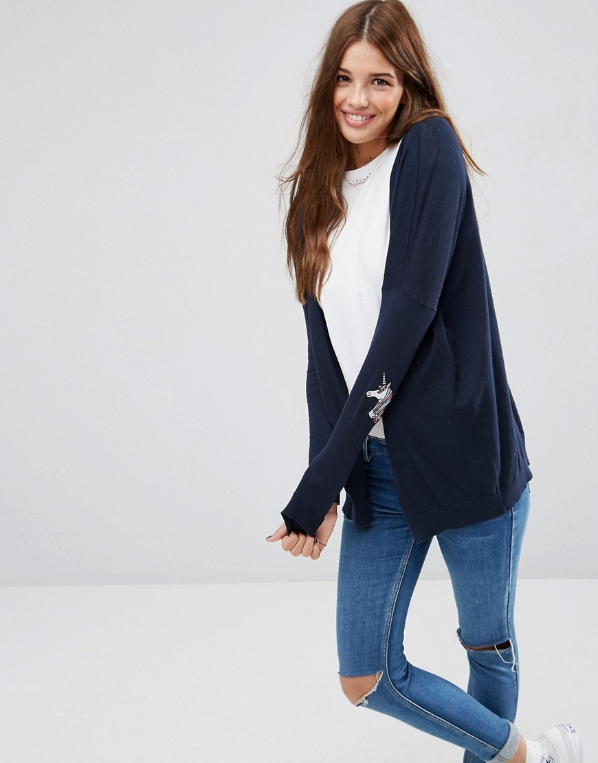 Swing Cardigan With Unicorn Elbow Patch Navy - pattern: plain; neckline: collarless open; style: open front; predominant colour: navy; occasions: casual, creative work; length: standard; fibres: cotton - 100%; fit: loose; sleeve length: long sleeve; sleeve style: standard; texture group: knits/crochet; pattern type: knitted - fine stitch; season: a/w 2016
