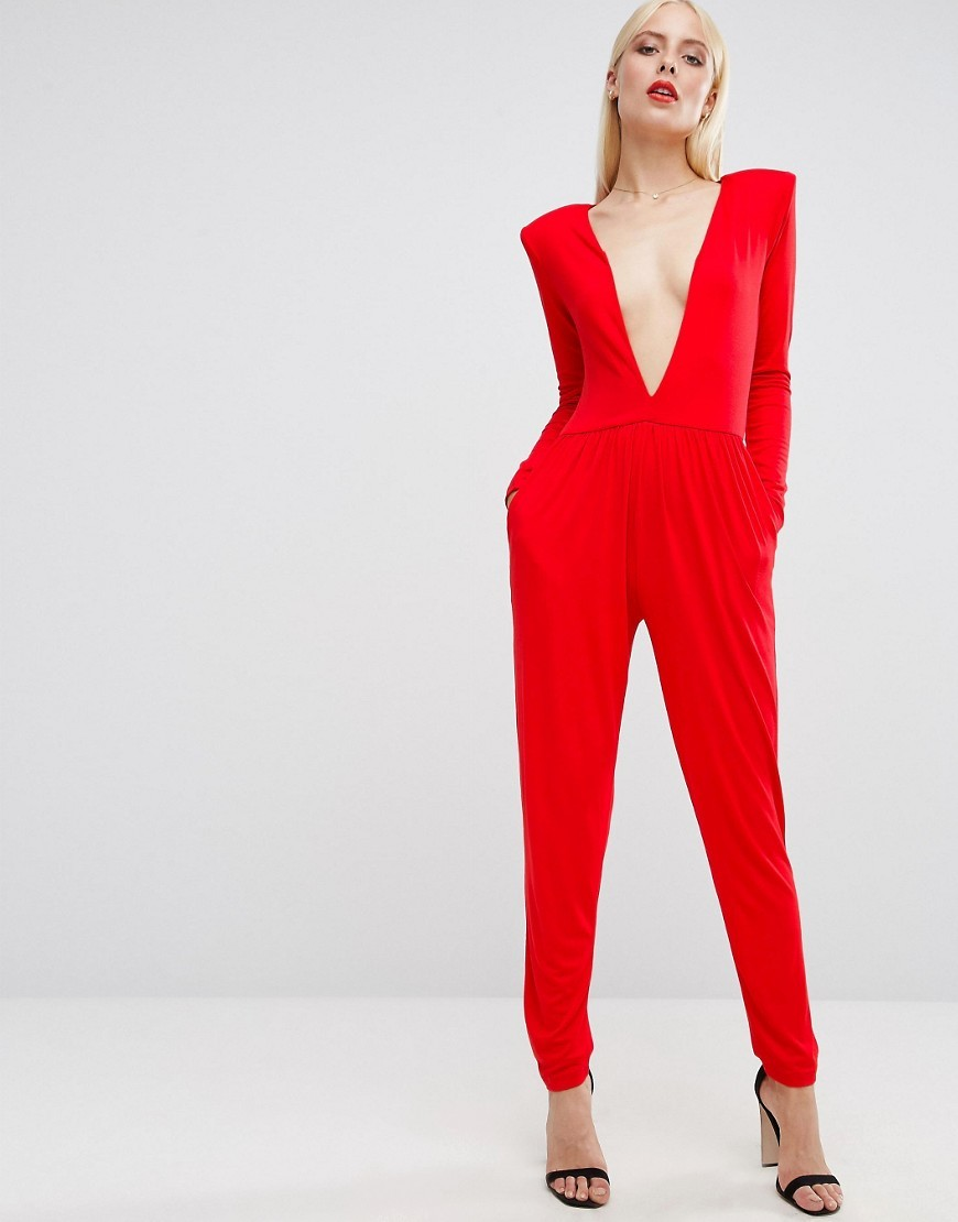 Jersey Jumpsuit With Extreme Plunge Red - length: standard; neckline: plunge; pattern: plain; predominant colour: true red; occasions: evening; fit: body skimming; fibres: polyester/polyamide - stretch; sleeve length: long sleeve; sleeve style: standard; style: jumpsuit; pattern type: fabric; texture group: jersey - stretchy/drapey; season: a/w 2016