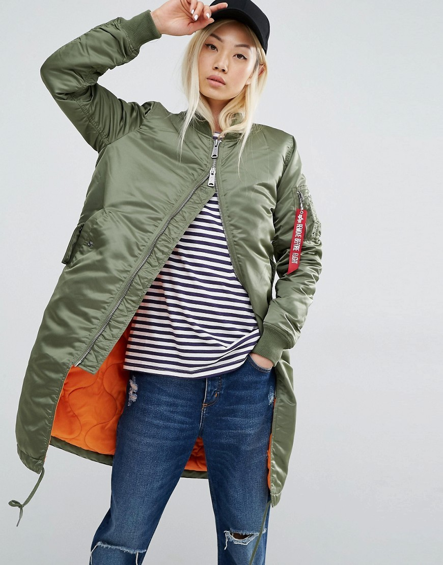 Ma 1 Longline Bomber Jacket With Contrast Lining Sage Green - pattern: plain; collar: round collar/collarless; fit: slim fit; style: bomber; predominant colour: khaki; occasions: casual; fibres: nylon - 100%; length: mid thigh; sleeve length: long sleeve; sleeve style: standard; texture group: technical outdoor fabrics; collar break: high; pattern type: fabric; wardrobe: basic; season: a/w 2016