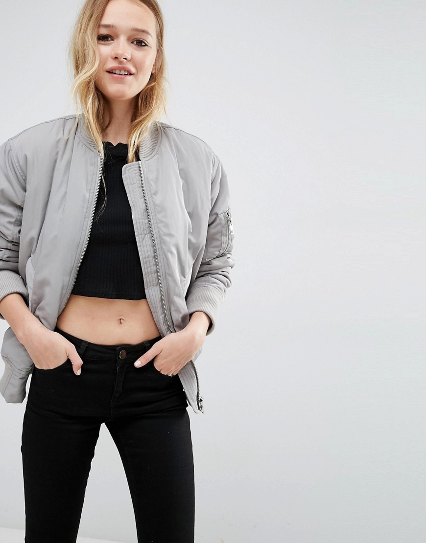 Luxe Padded Bomber Jacket Silver Grey - pattern: plain; collar: round collar/collarless; fit: loose; style: bomber; predominant colour: light grey; occasions: casual; length: standard; fibres: polyester/polyamide - 100%; sleeve length: long sleeve; sleeve style: standard; collar break: high; pattern type: fabric; texture group: woven light midweight; wardrobe: basic; season: a/w 2016