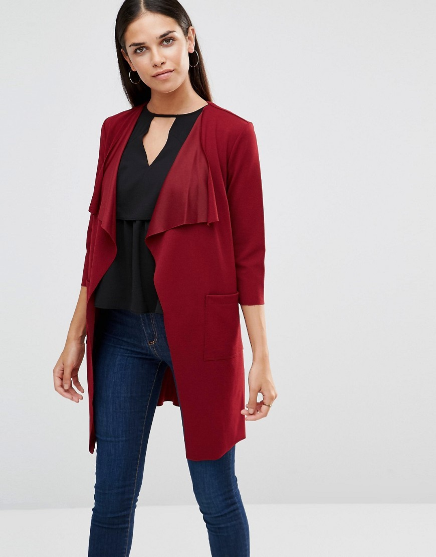 Lightweight Jacket With Tie Waist Wine - pattern: plain; collar: shawl/waterfall; fit: loose; predominant colour: true red; occasions: casual, creative work; fibres: polyester/polyamide - stretch; length: mid thigh; sleeve length: 3/4 length; sleeve style: standard; collar break: low/open; pattern type: fabric; texture group: woven light midweight; style: fluid/kimono; season: a/w 2016; wardrobe: highlight