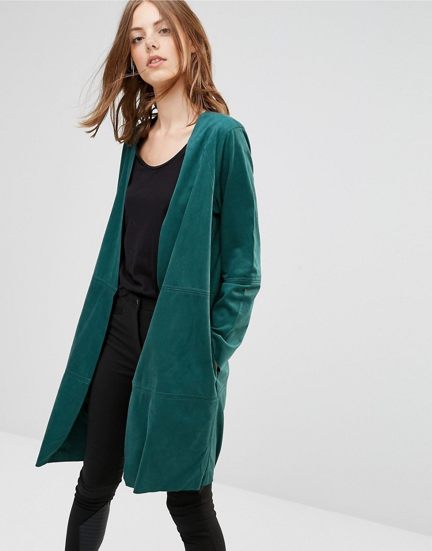 Amani Drapey Jacket In Teal 2146826246 - pattern: plain; collar: shawl/waterfall; fit: loose; style: boyfriend; length: on the knee; predominant colour: teal; occasions: casual; fibres: polyester/polyamide - 100%; sleeve length: long sleeve; sleeve style: standard; collar break: low/open; pattern type: fabric; texture group: other - light to midweight; season: a/w 2016; wardrobe: highlight