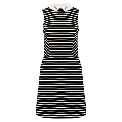 Cherry Stripe Dress, Multi - style: shift; length: mid thigh; fit: tailored/fitted; pattern: horizontal stripes; sleeve style: sleeveless; secondary colour: white; predominant colour: black; fibres: polyester/polyamide - 100%; neckline: no opening/shirt collar/peter pan; sleeve length: sleeveless; pattern type: fabric; texture group: woven light midweight; embellishment: embroidered; occasions: creative work; season: a/w 2016; wardrobe: highlight
