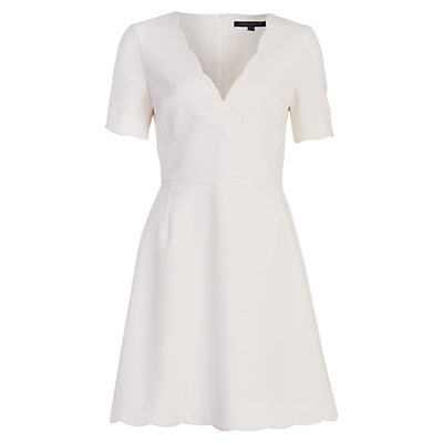 Sundae Dress, Daisy White - style: faux wrap/wrap; neckline: low v-neck; fit: tailored/fitted; pattern: plain; predominant colour: white; occasions: evening, occasion; length: just above the knee; fibres: polyester/polyamide - 100%; sleeve length: short sleeve; sleeve style: standard; texture group: crepes; pattern type: fabric; season: a/w 2016; wardrobe: event