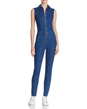 Jessie Utility Denim Jumpsuit - length: standard; neckline: shirt collar/peter pan/zip with opening; pattern: plain; sleeve style: sleeveless; predominant colour: navy; occasions: casual; fit: body skimming; fibres: cotton - stretch; sleeve length: sleeveless; texture group: denim; style: jumpsuit; pattern type: fabric; season: a/w 2016; wardrobe: highlight