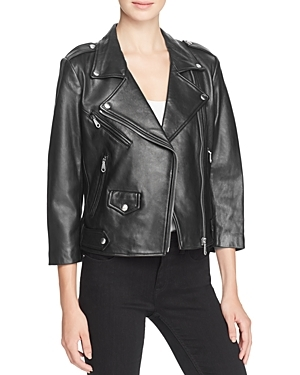 Wes Leather Moto Jacket - pattern: plain; style: biker; collar: asymmetric biker; fit: slim fit; predominant colour: black; occasions: casual, evening, creative work; length: standard; fibres: leather - 100%; sleeve length: 3/4 length; sleeve style: standard; texture group: leather; collar break: medium; pattern type: fabric; wardrobe: basic; season: a/w 2016