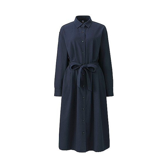 Women Flannel Long Sleeve Shirt Dress Navy - style: shirt; length: calf length; neckline: shirt collar/peter pan/zip with opening; pattern: plain; waist detail: belted waist/tie at waist/drawstring; predominant colour: navy; occasions: evening; fit: body skimming; fibres: cotton - 100%; sleeve length: long sleeve; sleeve style: standard; texture group: cotton feel fabrics; pattern type: fabric; season: a/w 2016; wardrobe: event