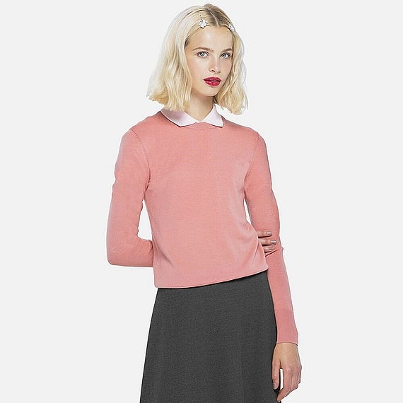 Women Extra Fine Merino Crew Neck Sweater (11 Colours) Pink - pattern: plain; style: standard; predominant colour: pink; occasions: casual, work, creative work; length: standard; fibres: wool - mix; fit: standard fit; neckline: crew; sleeve length: long sleeve; sleeve style: standard; texture group: knits/crochet; pattern type: knitted - fine stitch; season: a/w 2016; wardrobe: highlight