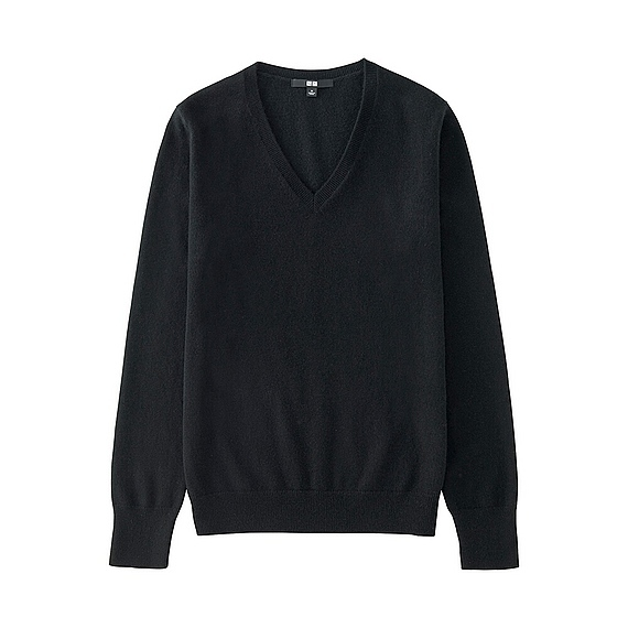 Women 100% Cashmere V Neck Sweater Black - neckline: low v-neck; pattern: plain; style: standard; predominant colour: black; occasions: casual, work, creative work; length: standard; fit: standard fit; fibres: cashmere - 100%; sleeve length: long sleeve; sleeve style: standard; texture group: waxed cotton; pattern type: knitted - fine stitch; season: a/w 2016; wardrobe: highlight