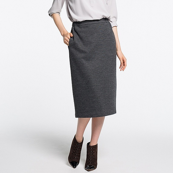 Women Jersey Pencil Skirt (5 Colours) Dark Gray - length: calf length; pattern: plain; style: pencil; fit: tailored/fitted; waist: mid/regular rise; predominant colour: charcoal; occasions: work; fibres: polyester/polyamide - mix; pattern type: fabric; texture group: jersey - stretchy/drapey; wardrobe: basic; season: a/w 2016