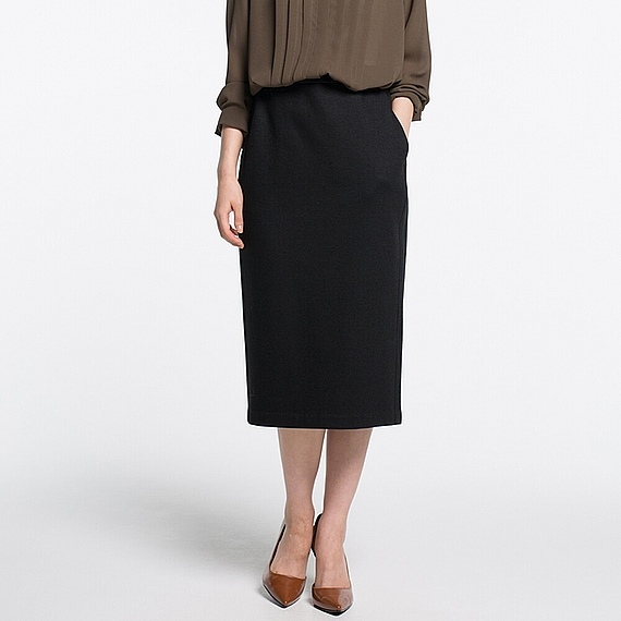 Women Jersey Pencil Skirt (5 Colours) Black - length: calf length; pattern: plain; style: pencil; fit: body skimming; hip detail: draws attention to hips; waist: mid/regular rise; predominant colour: black; occasions: work; fibres: polyester/polyamide - stretch; pattern type: fabric; texture group: jersey - stretchy/drapey; wardrobe: basic; season: a/w 2016