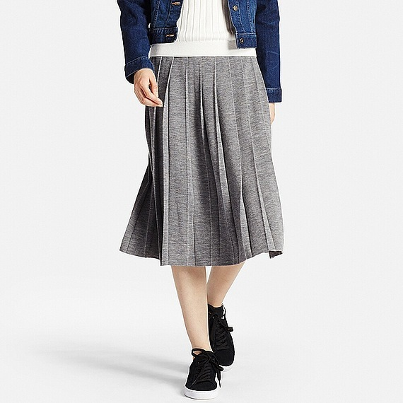 Women Merino Wool Blend Pleated Skirt Gray - length: below the knee; pattern: plain; fit: body skimming; style: pleated; waist: high rise; predominant colour: mid grey; occasions: casual; fibres: wool - mix; texture group: knits/crochet; pattern type: fabric; wardrobe: basic; season: a/w 2016